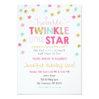 Twinkle Little Star Mint pink birthday invitation