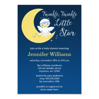 "Twinkle Little Star Moon Baby Shower Invitation 5"" X 7"" Invitation Card"