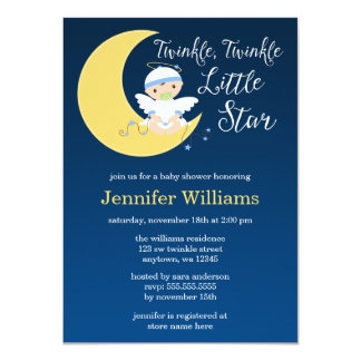 "Twinkle Little Star Moon Baby Shower Invitation 4.5"" X 6.25"" Invitation Card"