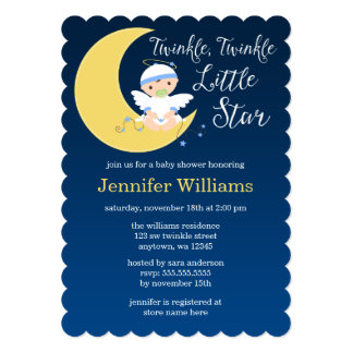 Twinkle Little Star Moon Baby Shower Custom Announcement