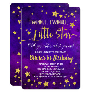 Twinkle Little Star ONE 1st Birthday Invitation