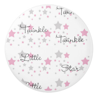 Twinkle Little Star Pink Grey Gray Nursery Rhyme Ceramic Knob