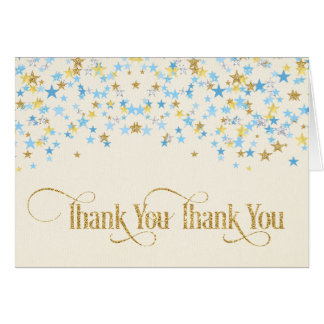 Twinkle Little Star Thank You Blue Gold Card