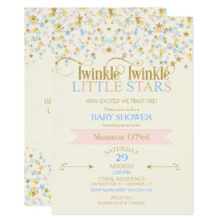 Twinkle Little Star Twins Baby Shower Pink & Blue 13 Cm X 18 Cm Invitation Card
