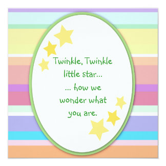 "Twinkle Little Star Unisex Baby Shower Invitations 5.25"" Square Invitation Card"