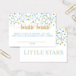 Twinkle Little Stars Twins Diaper Raffle Blue Gold Business Card