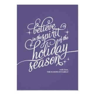 Twinkle Majestic Script Holiday Card 13 Cm X 18 Cm Invitation Card