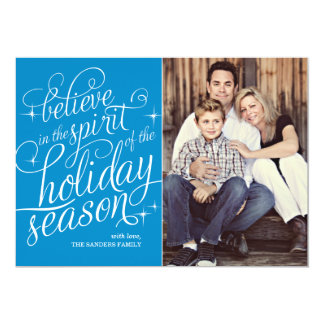"""Twinkle Peacock Script Holiday Photo Card 5"""" X 7"""" Invitation Card"""