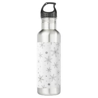 Twinkle Snowflake -Silver Grey & White- 710 Ml Water Bottle