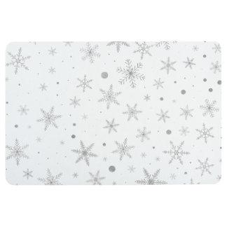 Twinkle Snowflake -Silver Grey & White- Floor Mat