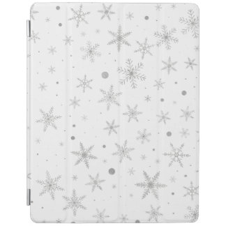 Twinkle Snowflake -Silver Grey & White- iPad Cover