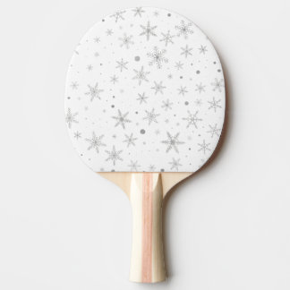 Twinkle Snowflake -Silver Grey & White- Ping Pong Paddle