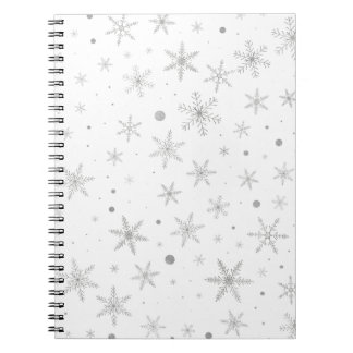 Twinkle Snowflake -Silver Grey & White- Spiral Notebook