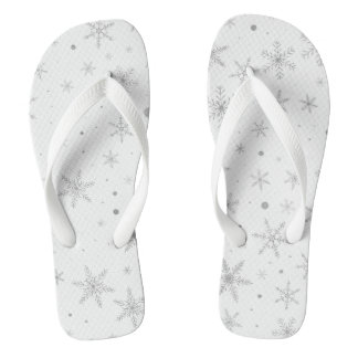 Twinkle Snowflake -Silver Grey & White- Thongs