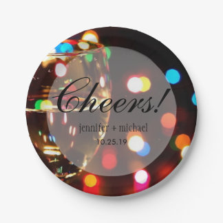 Twinkle Sparkle Bokeh Light Champagne Glass Cheers Paper Plate