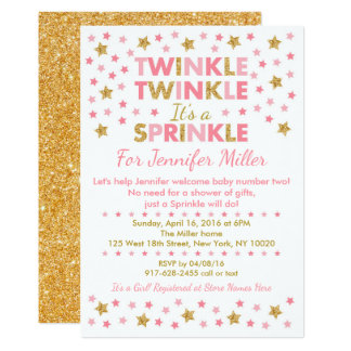 Twinkle Star Baby Sprinkle Invitations Pink & Gold
