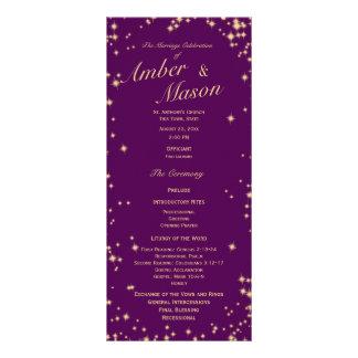 Twinkle Stars Purple and Gold Sparkle Customised Rack Card