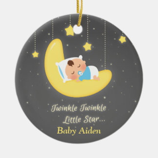 Twinkle Twinkle Little Star Baby Nursery Decor Round Ceramic Decoration