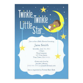 "Twinkle Twinkle Little Star Baby Shower Invite 5"" X 7"" Invitation Card"