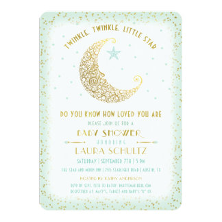 Twinkle Twinkle Little Star Baby Shower Mint Gold Card