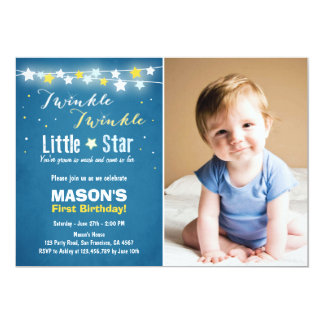 Twinkle Twinkle Little Star Birthday Boy Blue Card