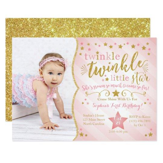 Twinkle Twinkle Little Star Birthday Invitation Zazzlecomau
