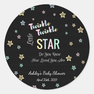 Twinkle Twinkle Little Star - Black, Gender Reveal Round Sticker