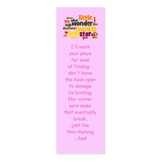 Twinkle, twinkle little star... bookmark business card