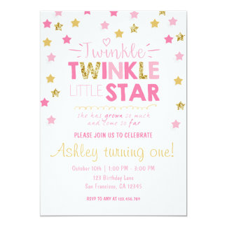 Twinkle Twinkle Little Star Chalkboard invitation