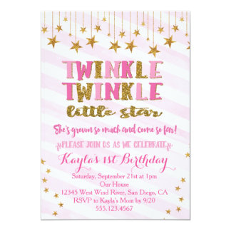 Twinkle Twinkle Little Star Invitation Pink