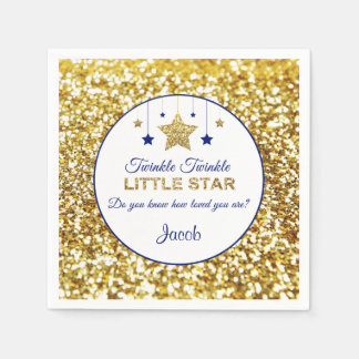 Twinkle twinkle little star napkins navy and gold paper napkin