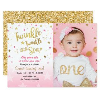 Twinkle Twinkle Little Star Pink Gold invitation