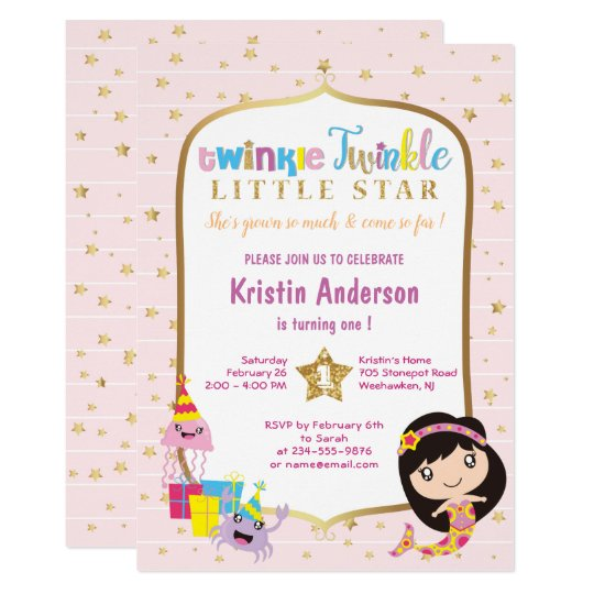 Twinkle Twinkle Little Star Pink Mermaid Birthday Card