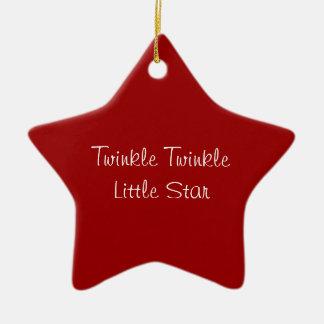 """""""Twinkle Twinkle Little Star"""" Red star ornament"""