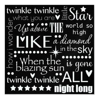 Twinkle Twinkle Little Star Word Art 13 Cm X 13 Cm Square Invitation Card