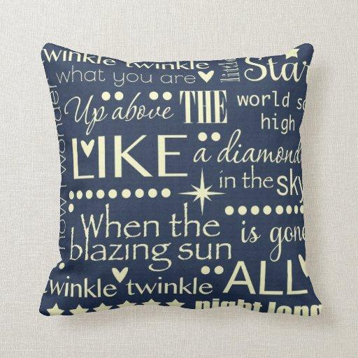 Twinkle Twinkle Little Star Word Art Design Pillow