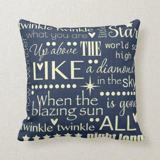 Twinkle Twinkle Little Star Word Art Design Pillows
