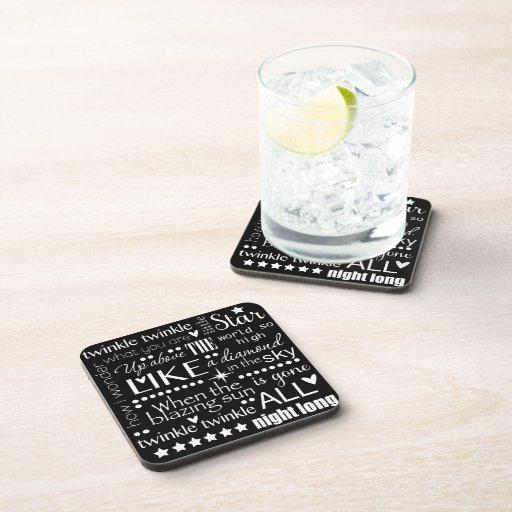 Twinkle Twinkle Little Star Word Art Text Design Drink Coaster