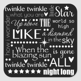 Twinkle Twinkle Little Start Word Art Text Design Square Sticker