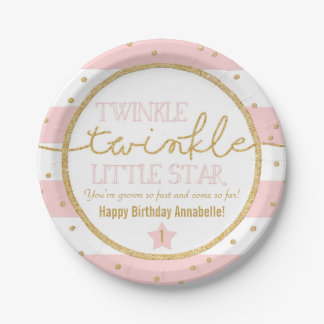 Twinkle Twinkle Pink and Gold Birthday Plates 7 Inch Paper Plate