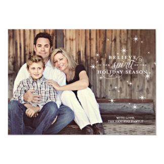 "Twinkle White Stars Holiday Photo Card 5"" X 7"" Invitation Card"