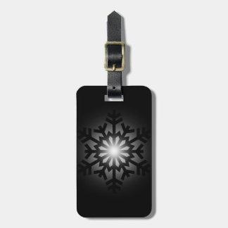 Twinkling Black Snowflake Luggage Tag