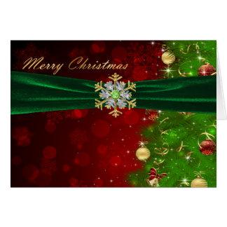 Twinkling Christmas Tree Lights & Snowflakes Card