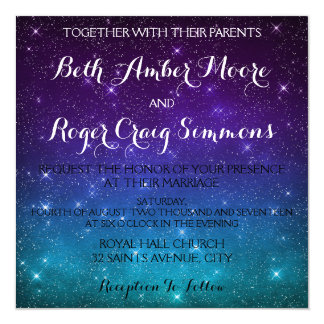 Twinkling Star Night Sky Wedding Shower Invitation