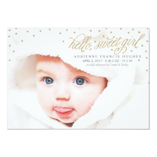 Twinkly Gold Stars Baby Girl Birth Announcement