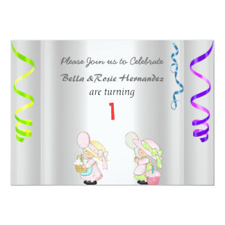 """Twins 1st Birthday Announcement Party Silver 5"""" X 7"""" Invitation Card"""