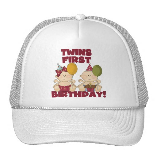 Twins 1st Birthday Boy/Girl T-shirts and Gifts Mesh Hat