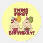 Twins 1st Birthday Boy/Girl T-shirts and Gifts Round Sticker