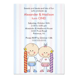 Twins 1st Birthday Invitation Girl & Boy