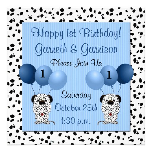 Twins 1st Birthday Party Invitation Blue